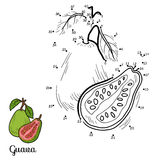 Numbers vector game: fruits and vegetables (guava) Stock Photography