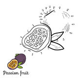 Numbers vector game: fruits and vegetables (passion fruit). Numbers vector game for children: fruits and vegetables (passion fruit stock illustration