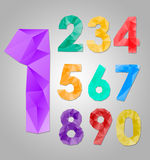 Numbers. Vector illustration. Colour triangle numbers . Vector illustration Royalty Free Stock Photo