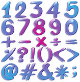 Numbers in violet shades Stock Photography