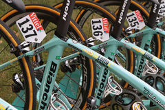 Numbers and wheels. PAU, FRANCE, July 15, 2015 : Numbers on the runners' bikes in the Village Depart of the Tour de France cyclist race Royalty Free Stock Photo