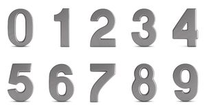 Numbers on white background. Isolated 3D illustration Royalty Free Stock Photo