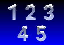Numbers with snow caps Royalty Free Stock Photos