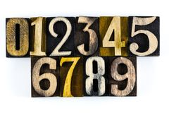 Numbers 123 wood learning letterpress. Vintage letterpress blocks wooden number 123 educational education counting learning white isolated background letterpress Royalty Free Stock Photography