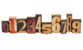 Numbers in wood type Royalty Free Stock Photography
