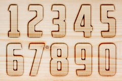 Numbers on wood Stock Photo