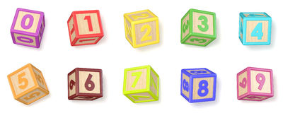 Numbers wooden alphabet blocks font rotated. 3D Royalty Free Stock Image