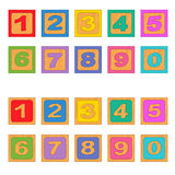 Numbers wooden blocks Stock Images