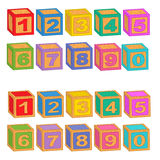 Numbers wooden colorful blocks Royalty Free Stock Photo