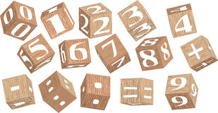 Numbers on wooden cubes Royalty Free Stock Photography