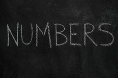 Numbers word on black chalkboard Stock Photography