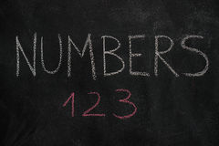 Numbers word and 123 on black chalkboard Stock Photo