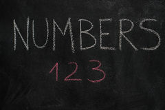 Numbers word and first three letters on black chalkboard Stock Photography