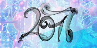 2017 numbers written with black smoke or flame on squared abstract geometic background.  royalty free illustration