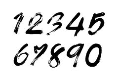 Numbers 0-9 written with a brush Stock Images