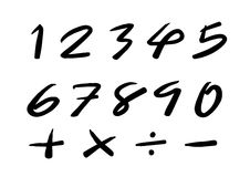 Numbers 0-9 written with a brush Stock Image