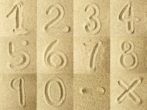 Numbers Written in the Sand. Golden colors Royalty Free Stock Images