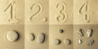 Numbers Written in the Sand. And stones Royalty Free Stock Photo
