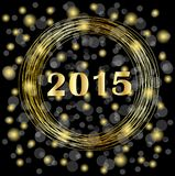 Numbers 2015 year on a black background with gold spangles Stock Image