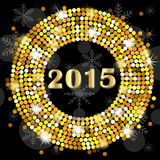 Numbers 2015 year on a black background with gold spangles Royalty Free Stock Images