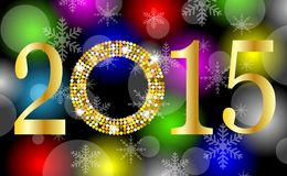 Numbers 2015 year on a bright background with gold spangles Royalty Free Stock Images