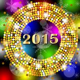 Numbers 2015 year on a bright background with gold spangles Stock Image