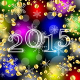 Numbers 2015 year on a bright background with gold spangles Stock Images