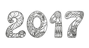 2017 Numbers. Zentangle. Hand drawn numbers with abstract patterns on isolation background. Design for spiritual relaxation for adults. Line art creation Stock Photo