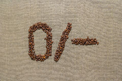 Numbers zero from coffee beans Royalty Free Stock Photos
