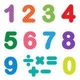Numbers from zero to nine. With mathematical signs Royalty Free Illustration