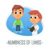 Numbness of limbs medical concept. Vector illustration. Royalty Free Stock Photo