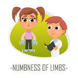 Numbness of limbs medical concept. Vector illustration. Stock Image