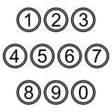 Numera i segni delle icone di simboli insieme colorato in bianco e nero semplice illustrazione di stock