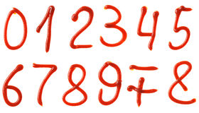 Numera os símbolos feitos do xarope da ketchup Foto de Stock