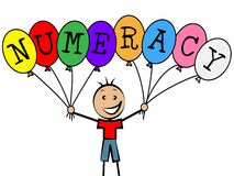 Numeracy Balloons Represents Youths Son And Numerical. Numeracy Balloons Meaning Child Youngsters And Boy Royalty Free Stock Photo