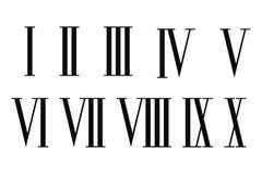 Numerais romanos ajustados ilustração stock
