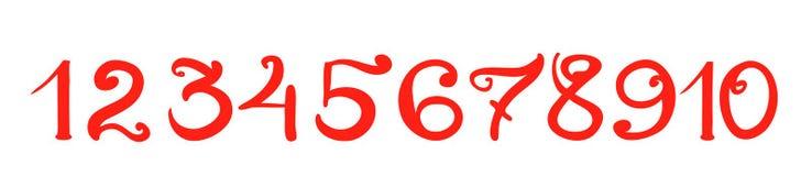 Numerais vermelhos escritos à mão isolados Fotos de Stock