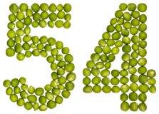Numeral árabe 54, cinquenta e quatro, das ervilhas verdes, isoladas no whit Imagem de Stock