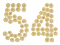 Numeral árabe 54, cinquenta e quatro, das flores de creme do chrysanthem Imagem de Stock Royalty Free