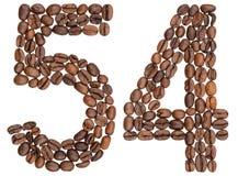 Numeral árabe 54, cinquenta e quatro, dos feijões de café, isolados no wh Imagem de Stock Royalty Free