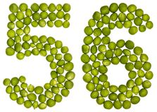 Numeral árabe 56, cinquenta e seis, das ervilhas verdes, isoladas no branco Fotografia de Stock Royalty Free