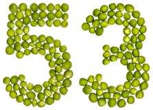 Numeral árabe 53, cinquenta e três, das ervilhas verdes, isoladas no whi Fotos de Stock