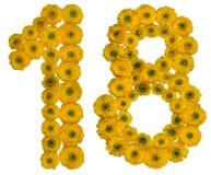 Numeral árabe 18, dezoito, das flores amarelas do botão de ouro, Fotografia de Stock Royalty Free