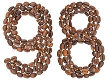 Numeral árabe 98, noventa e oito, dos feijões de café, isolados sobre Imagem de Stock