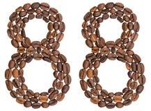 Numeral árabe 88, oitenta e oito, dos feijões de café, isolados sobre Fotografia de Stock Royalty Free