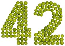 Numeral árabe 42, quarenta e dois, das ervilhas verdes, isoladas no branco Fotos de Stock Royalty Free