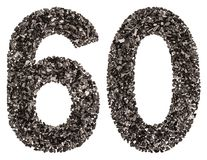 Numeral árabe 60, sessenta, do preto um carvão vegetal natural, isolado Fotos de Stock Royalty Free