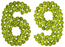 Numeral árabe 69, sessenta e nove, das ervilhas verdes, isoladas no whit Foto de Stock