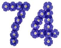 Numeral árabe 74, setenta quatro, das flores azuis do linho, isolador Fotos de Stock Royalty Free