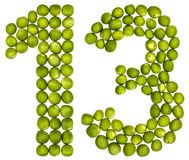 Numeral árabe 13, treze, das ervilhas verdes, isoladas no branco Imagens de Stock